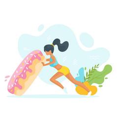 Woman flipping big doughnut vector