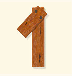 Wood number wooden plank numeric font held vector