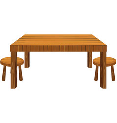 wooden table and stools on white background vector image