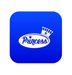 word princess crown icon blue vector image