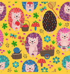 Yellow seamless pattern with colorful hedgehogs vector