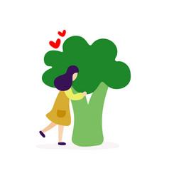 young girl hugging big broccoli vector image