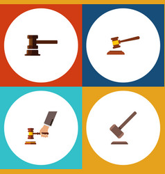 flat icon lawyer set of hammer government vector image vector image