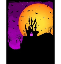 Haunted House on a Graveyard hill EPS 8 vector image
