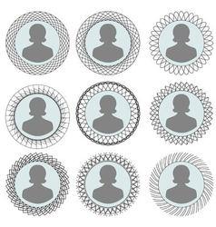 Set Round patterned photo frames vector image vector image