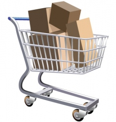 shopping cart full of parcels vector image vector image