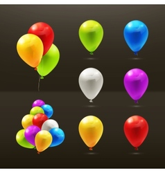 Toy balloons set of icons on black vector image vector image