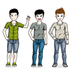 young teen boys cute children group standing in vector image vector image