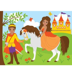 African American Princess with Prince - vector image