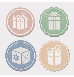 Gift box icon set different vintage styles vector image vector image