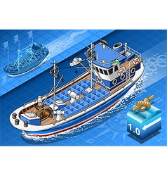 Isometric fishing boat in navigation in front view vector