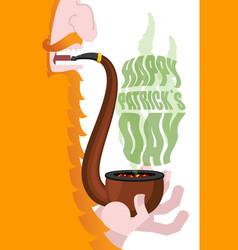 leprechaun smokes pipe patricks day smoking set vector image
