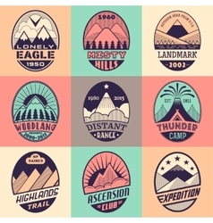 Mountain badge set2color1 vector image vector image