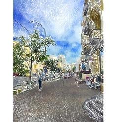 original digital drawing of Kyiv city street vector image vector image