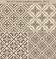 Set of 4 vintage seamless patternsSet 2 vector image