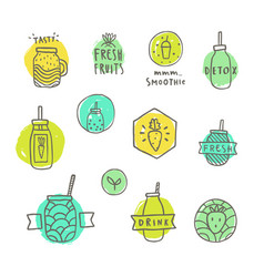 smoothie badges set vector image