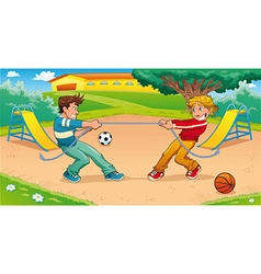 Tug of war with background vector image vector image