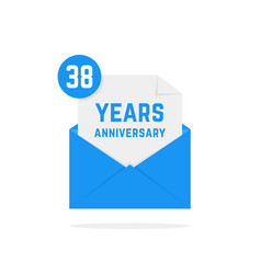 38 years anniversary icon in blue open letter vector image