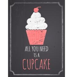 Chalkboard Cupcake Design vector image vector image