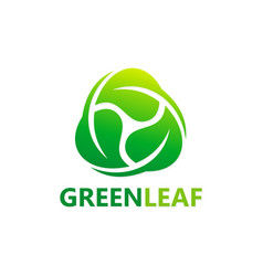 circle green leaf botany logo vector image vector image