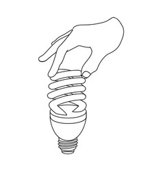 Fluorescent saving light bulb in hand electric vector