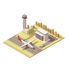 isometric minimalistic low poly airport vector image vector image