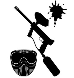 paintball set black and white vector image