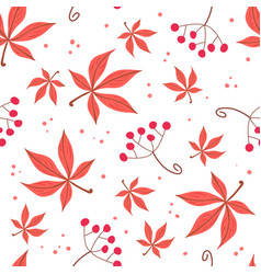 Seamless pattern of autumn leaves and berries vector