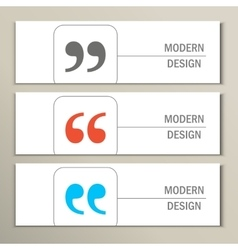 Set of 3 banners with quote text bubble vector image