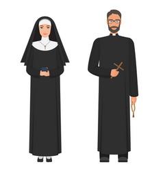 catholic priest and nun flat cartoon vector image vector image