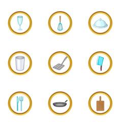 kitchen tools icons set cartoon style vector image