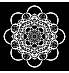 Mandala white on black Ethnic monochrome vector image