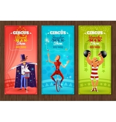 Travelling circus show flat banners set vector image