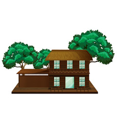 wooden house with trees vector image vector image
