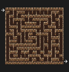 3d maze labyrinth with brick stone walls game vector