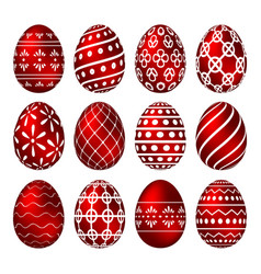 a set of red easter eggs with patterns vector image