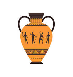 Ancient vase or amphora with traditional roman vector