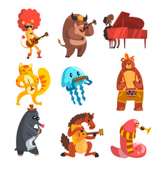 Animals playing musical instruments set lion cow vector
