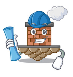 Architect brick chimney isolated in the character vector