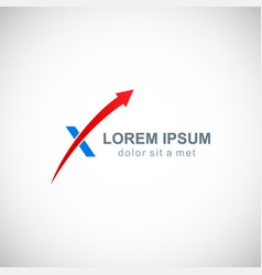 arrow letter x company logo vector image