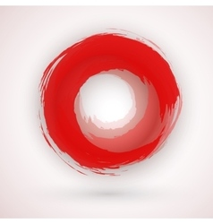 Asian Style Japanese Red Ink Circle Logo vector