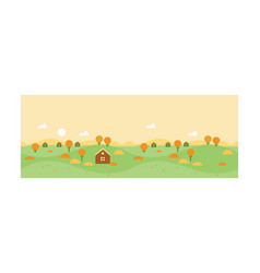 autumn rural landscape with village houses and vector image