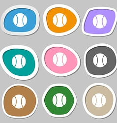 Baseball symbols multicolored paper stickers vector