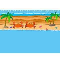 Border design with crabs on the beach vector