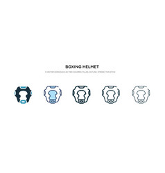 Boxing helmet icon in different style two vector