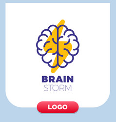 brain logo with thunderbolt design layout vector image