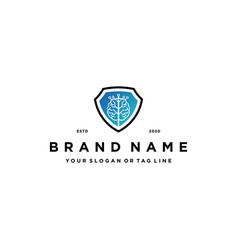 Brain tree tech and shield logo design concept vector