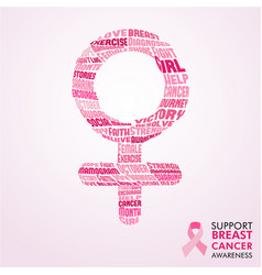 breast cancer awareness month pink female sign vector image