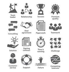 Business management icons Pack 10 vector image
