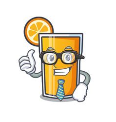 businessman orange juice character cartoon vector image